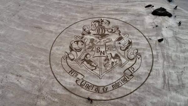 Dibujo en la arena sobre 'Harry Potter'
