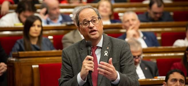 El presidente de la Generalitat, Quim Torra, en la sesión de control al Govern.