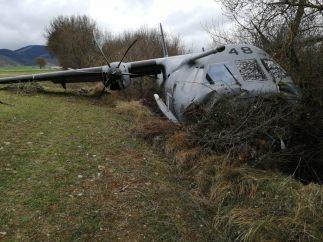 Avión militar accidentado en Jaca