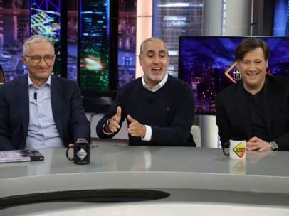 Javier Sardá, Carlos Latre y Jorge Salvador, en 'El hormiguero'.