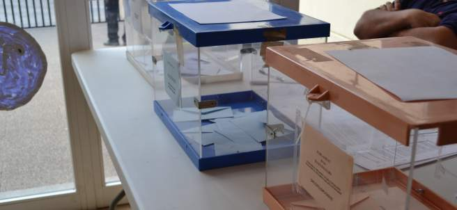 Urnas en un colegio electoral en Baleares.