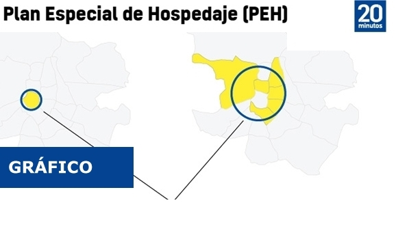 Mapa de los tres anillos de los pisos turísticos en Madrid