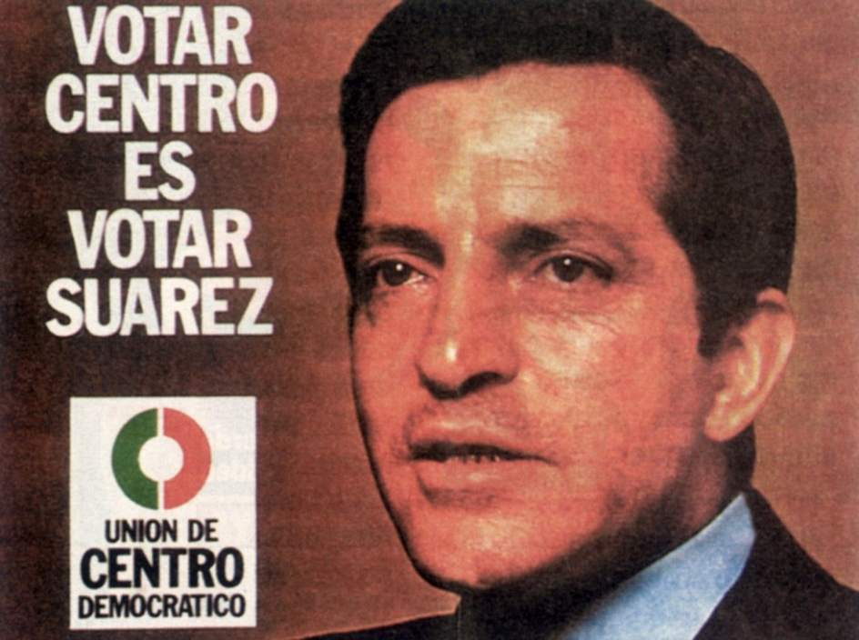 Cartel de UCD para las elecciones de 1977. Cartel de UCD para las elecciones de 1977 en el que aparece Adolfo Suárez.