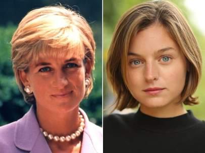 Diana de Gales y Emma Corrin