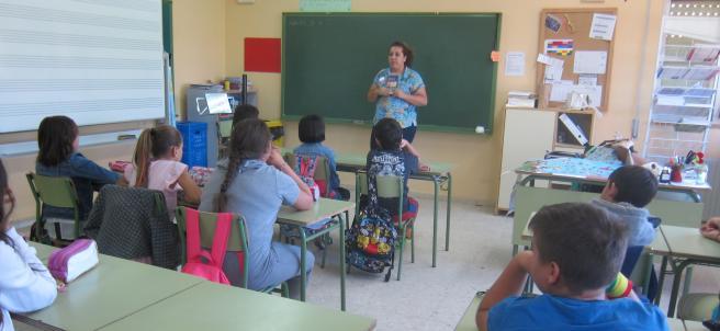 Alumnos de un colegio de Mérida en el aula.