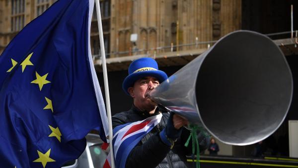 Un manifestante británico a favor de mantenerse en la Unión Europea