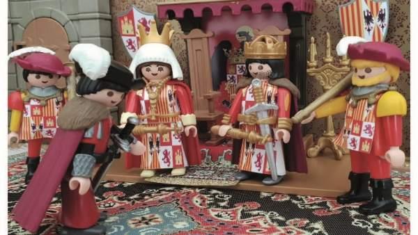 Granada.- Correos emite una tarjeta con la representación con Playmobil de las Capitulaciones de Santa Fe