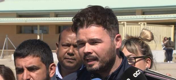 """Rufián sobre Junqueras y Sànchez: """"Son presos políticos""""."""