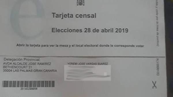Tarjeta censal de Yéremi Vargas