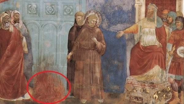 Hallanen un fresco de Giotto una imagen oculta del diablo hasta ahora inadvertida