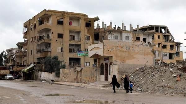 Destrucción en Al Raqa, Siria