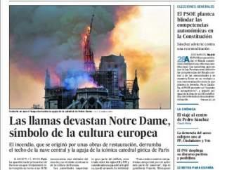 El incendio de Notre Dame en la prensa