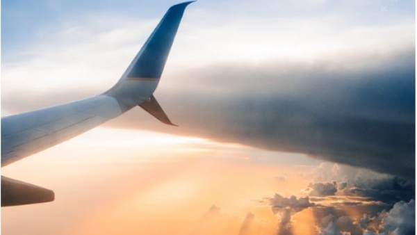 Sunset in an airplane