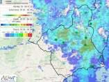 Meteorología eleva a naranja el aviso por lluvias en gran parte de la Región con acumulaciones en 12 horas de 100 l/m2