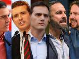 Sánchez, Casado, Rivera, Abascal e Iglesias