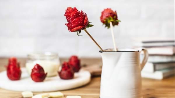 Fresas con forma de rosa