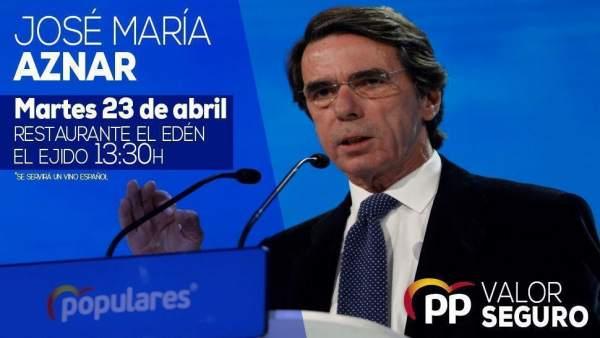 Almería.-28A.-El expresidente José María Aznar participa este martes en un acto de campaña arropado por la candidatura