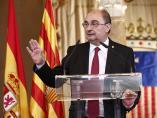 AMPL.- Lambán manifiesta la 'adscripción irrenunciable' de Aragón al 'espíritu constitucional' y la unidad de España