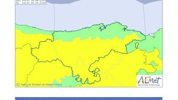Toda Cantabria, salvo el litoral, estará este miércoles en aviso por viento sur