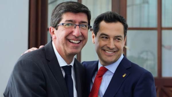 Juanma Moreno y Juan Marín en el balance de los 100 días