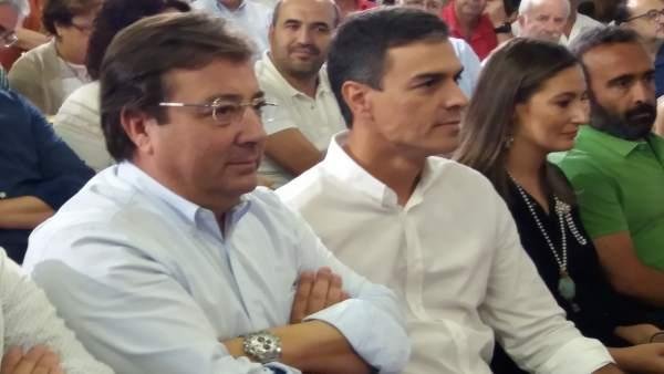 28A.- Pedro Sánchez y Fernández Vara participan este martes en Cáceres en un acto público del PSOE