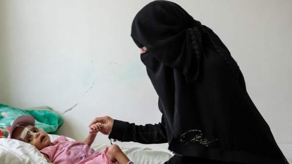 Pacientes en el hospital de Taiz.