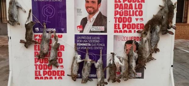 Conejos muertos en los carteles de Unidas Podemos
