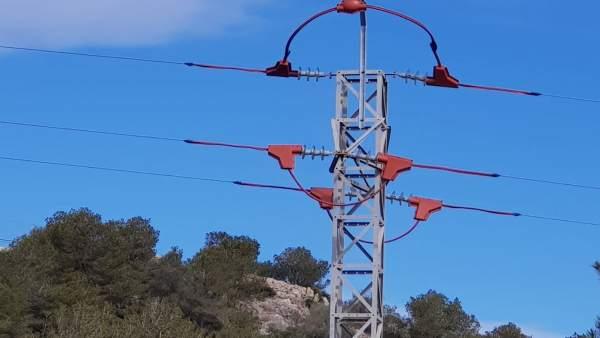 Endesa instala dispositivos para proteger la avifauna en Terres de l'Ebre (Tarragona)
