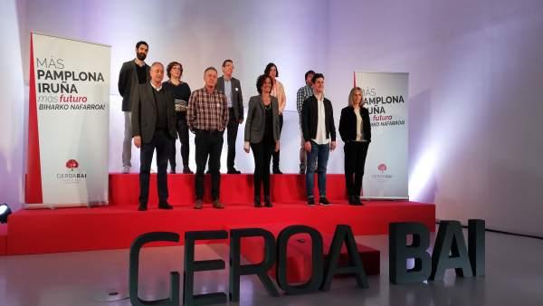 26M.- Geroa Bai Aboga Por La 'Consolidación En El Tiempo' Del 'Cambio Político' En Pamplona Para 'Asegurar Su Impacto'