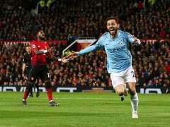 Bernardo Silva celebra el 0-1 del Manchester City frente al Manchester United.