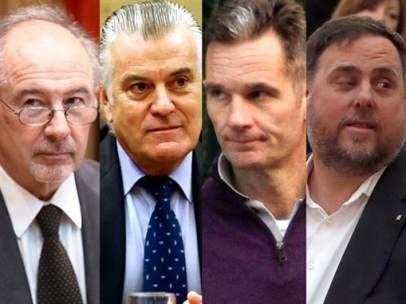 Rodrigo Rato, Luis Bárcenas, Iñaki Urdangarin, Oriol Junqueras y Jordi Sànchez.