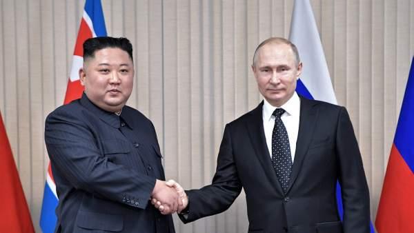 El presidente de Rusia, Vladimir Putin, y el líder de Corea del Norte, Kim Jong-un.