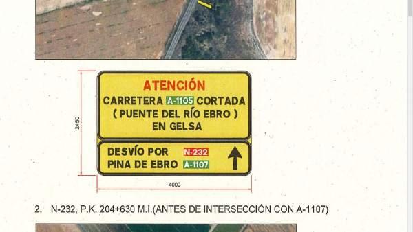 Zaragoza.-La rehabilitación del puente de Gelsa obligará a cerrar la carretera A-1105 desde el 6 de mayo hasta noviembre