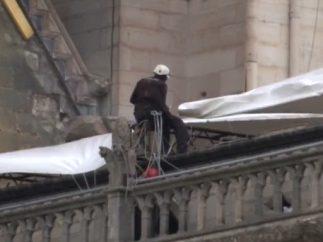 Lonas gigantes sobre Notre Dame