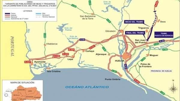 Huelva.- Fomento pone en servicio este martes la variante de Trigueros de la carretera N-435