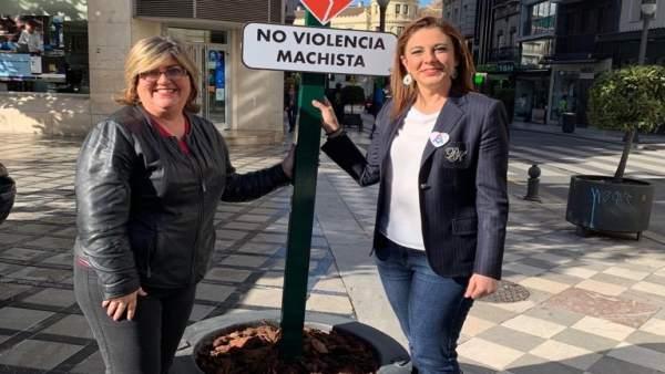 Granada.- El Ayuntamiento coloca señales de tráfico simbólicas contra la violencia machista
