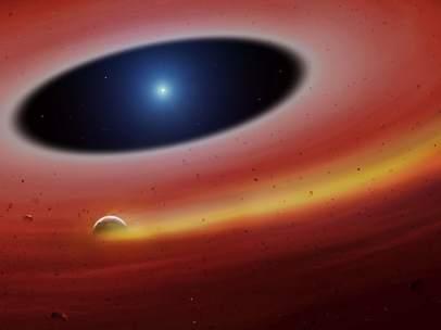 Un planeta orbitando una enana blanca