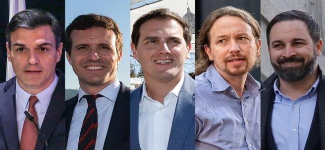 Montaje de los cinco líderes políticos