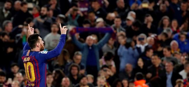 Messi celebra el gol de la victoria ante el Levante