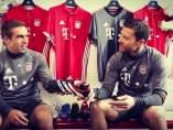 Xabi Alonso y Lahm, en su etapa en el Bayern