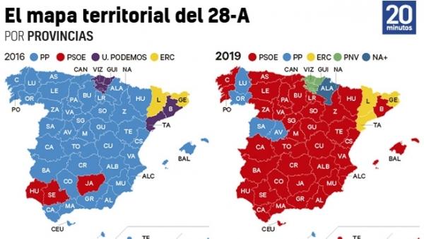 El mapa territorial del 28-A