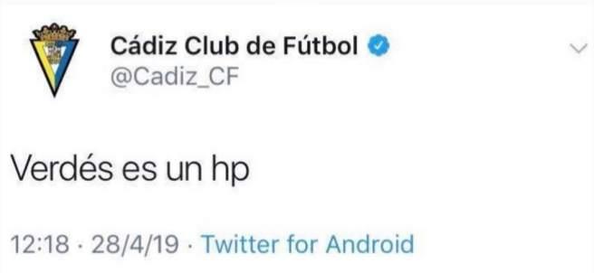 El tuit del Cádiz a Verdés