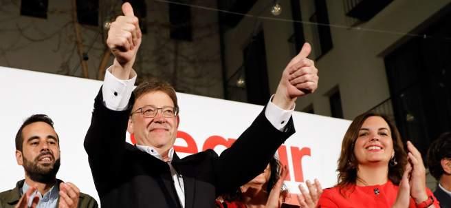 Ximo Puig celebra su victoria electoral