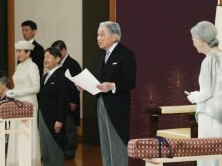 El emperador Akihito de Japón participa en la ceremonia de su abdicación.