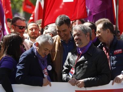Pedro Sánchez, en la manifestación del Día Internacional de Trabajo de 2018.