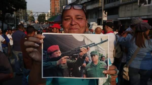 Manifestantes chavistas
