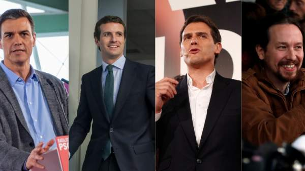 Montaje con Sánchez, Casado, Rivera e Iglesias