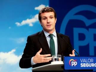 El líder del PP y candidato, Pablo Casado
