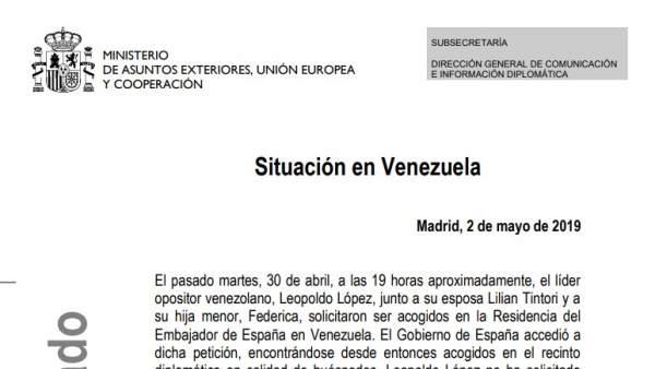 Comunicado de Exteriores sobre la situación en Venezuela con Leopoldo López.