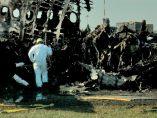 Avión incendiado en Moscú